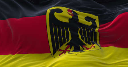 Germany flag waving in the wind. 3D rendering.