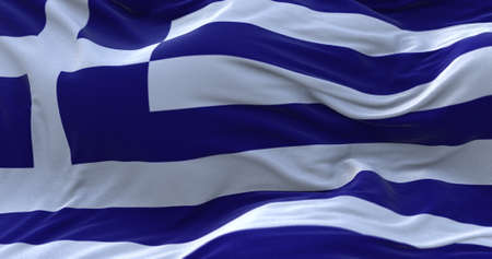 Greece flag waving in the wind. 3D rendering.