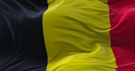 Belgium flag waving in the wind. 3D rendering. Zdjęcie Seryjne - 158903053