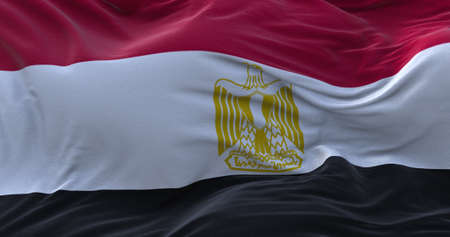 Egypt flag waving in the wind. 3D rendering.