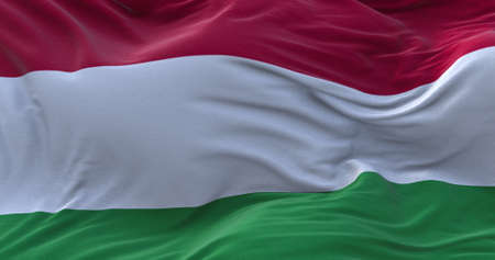 Hungary flag waving in the wind. 3D rendering.
