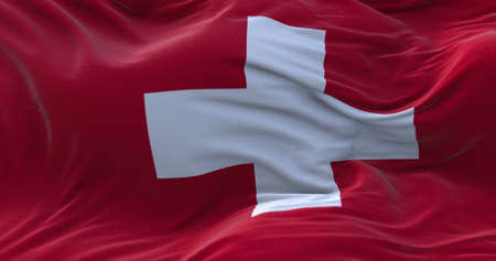 Switzerland flag waving in the wind. 3D rendering.