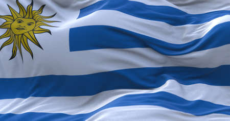 Uruguay flag waving in the wind. 3D rendering.