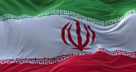 Iran flag waving in the wind. 3D rendering.