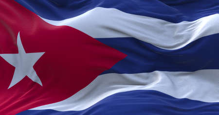 Cuba flag waving in the wind. 3D rendering.