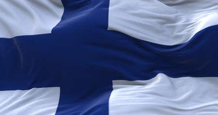 Finland flag waving in the wind. 3D rendering. Zdjęcie Seryjne