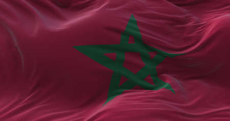 Morocco flag waving in the wind. 3D rendering.