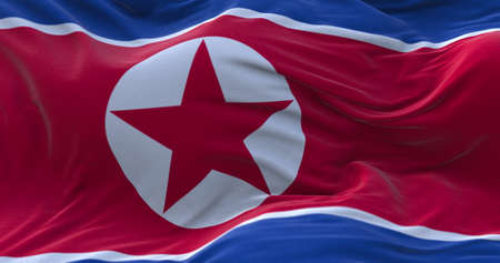 North Korea flag waving in the wind. 3D rendering.