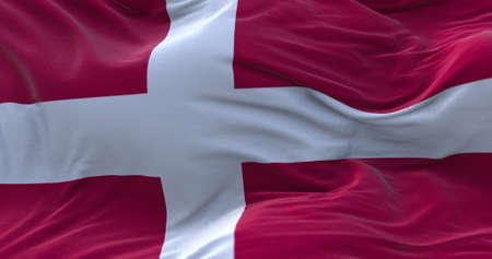 Denmark flag waving in the wind. 3D rendering.