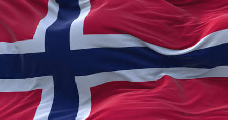Norway flag waving in the wind. 3D rendering. Zdjęcie Seryjne