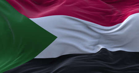 Sudan flag waving in the wind. 3D rendering.