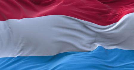 Luxembourg flag waving in the wind. 3D rendering. Zdjęcie Seryjne - 158903111