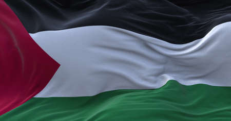 Palestine flag waving in the wind. 3D rendering.