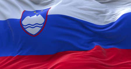 Slovenia flag waving in the wind. 3D rendering. Zdjęcie Seryjne