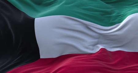 Kuwait flag waving in the wind. 3D rendering.