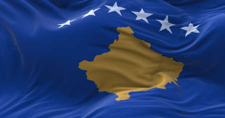 Kosovo flag waving in the wind. 3D rendering.