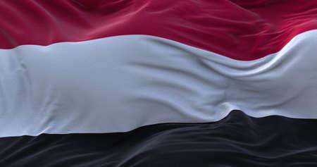 Yemen flag waving in the wind. 3D rendering.