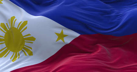 Philippines flag waving in the wind. 3D rendering.