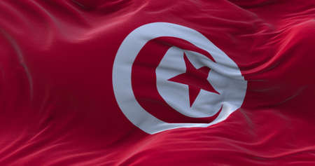 Tunisia flag waving in the wind. 3D rendering.