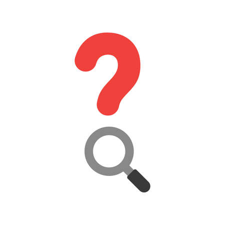 seeking assistance: Illustration concept of red question mark with grey and black magnifying glass icon flat design style.