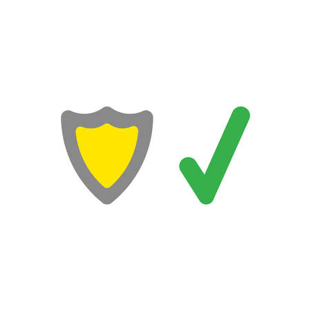 Illustration security concept of grey and yellow shield guard plus green check mark icon flat design style.