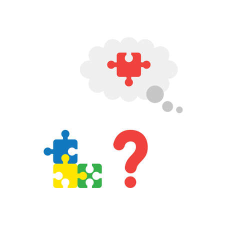 Illustration puzzle icon concept with red question mark and blue, yellow, green and missing piece of red puzzle in grey thought bubble flat design style. Illustration