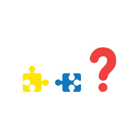 Vector illustration concept of yellow and blue puzzle pieces that are incompatible with each other with red question mark icon on white background with flat design style.