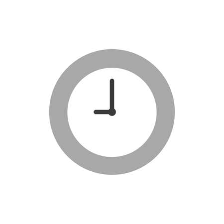monition: Illustration of grey clock time icon shows 9 oclock flat design style. Illustration