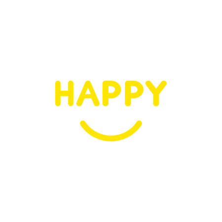 great: Flat design style vector illustration concept of yellow happy text with smiling mouth on white background. Illustration