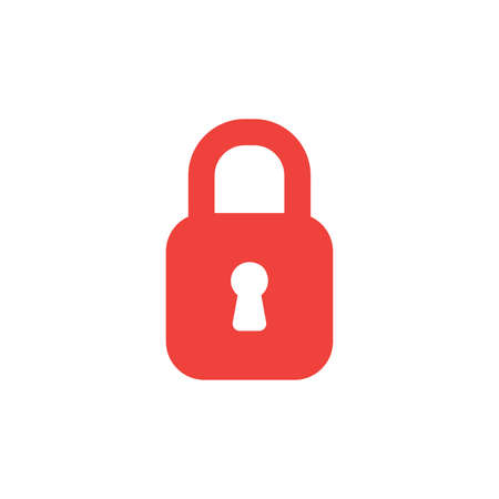 Flat design style vector illustration concept of red closed padlock icon on white background.