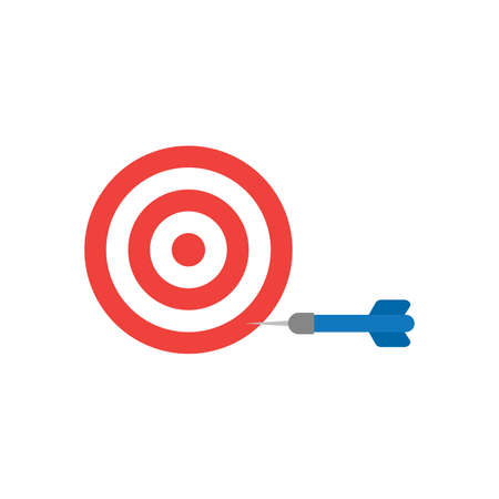 fiasco: Flat design style vector illustration concept of red and white bullseye with blue dart icon in the side on white background. Illustration