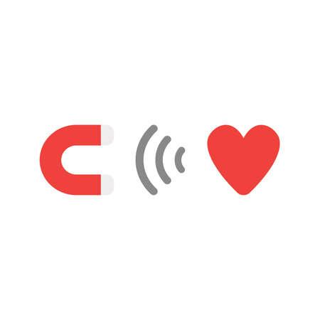 Plano de diseño de estilo ilustración vectorial concepto de rojo y gris imán atraer símbolo de corazón rojo icono sobre fondo blanco. Ilustración de vector