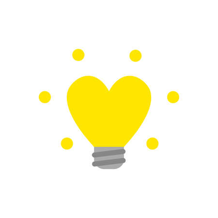 Flat design style vector illustration concept of glowing yellow heart-shaped light bulb symbol icon on white background.