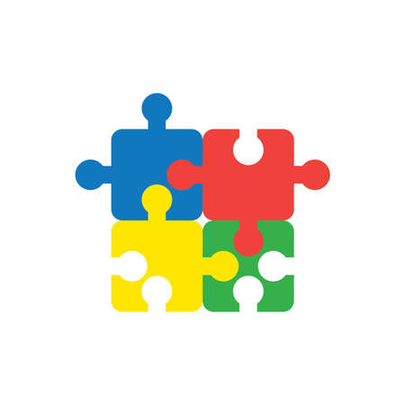 Flat design style vector illustration concept of blue, red, yellow and green jigsaw puzzle pieces symbol icons connected on white background. Illustration