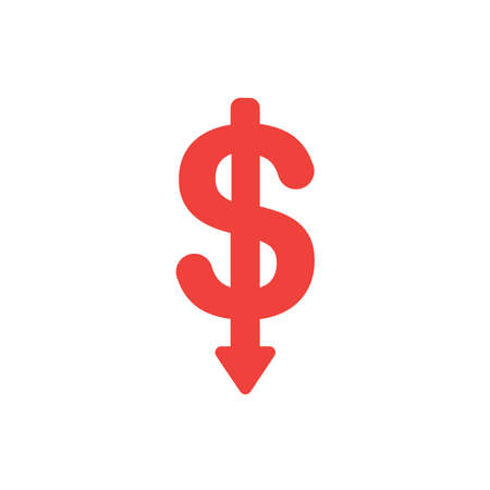Flat design style vector illustration concept of red dollar symbol icon with arrow pointing down on white background.