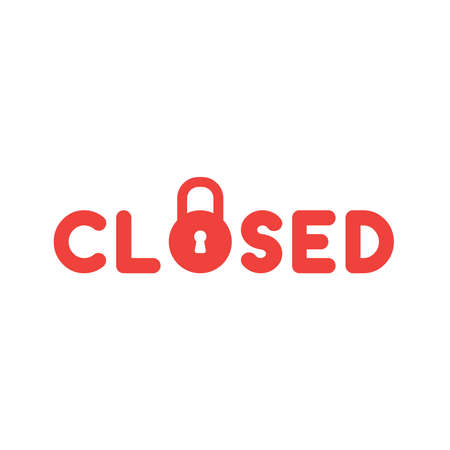 Flat design style vector illustration concept of red closed text with red padlock icon on white background.