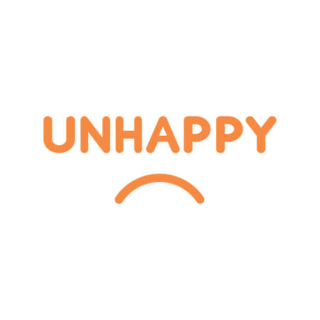 droopy: Flat design style vector illustration concept of orange unhappy text with sulking mouth on white background. Illustration