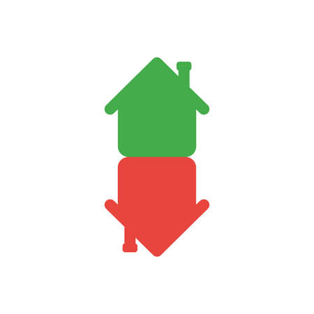 real estate sold: Flat design style vector illustration concept of green and red color two houses symbol icon in an arrow shape moving or pointing up and down on white background.