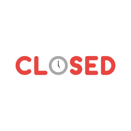 Flat design style vector illustration concept of red closed text with grey and white clock time symbol icon shows 5 oclock on white background.
