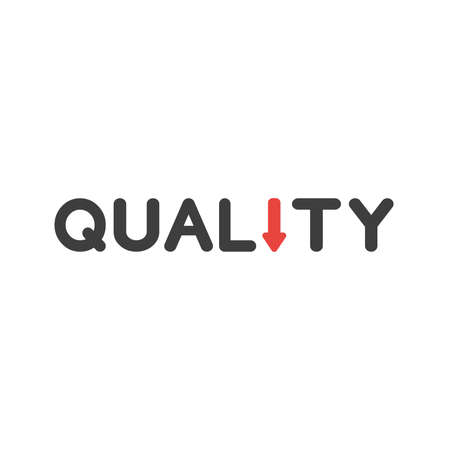 Flat design style vector illustration concept of black quality word text with red arrow symbol icon moving or pointing down on white background.