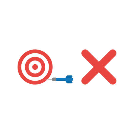 rejection: Flat design style vector illustration concept of red and white bulls eye with blue dart in the side with red x mark symbolizes unsuccess on white background.