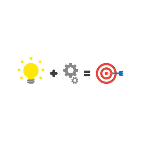 Flat design style vector illustration concept of yellow glowing light bulb plus grey gears equals red and white bulls eye with blue dart symbol icon in the center on white background.