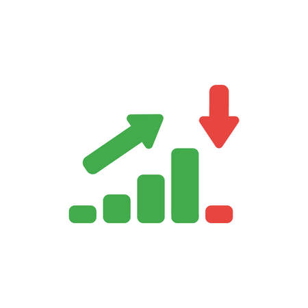 Flat design style vector illustration concept of green sales or value bar chart symbol icon moving up then moving down with arrows pointing up and down on white background. Ilustração