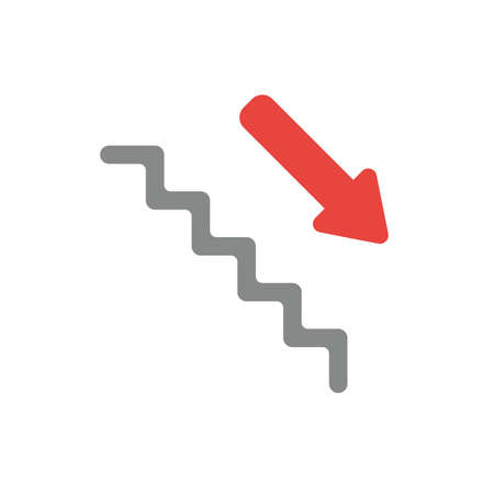 Flat design style vector illustration concept of grey stairs with red arrow symbol icon pointing down on white background. Ilustração