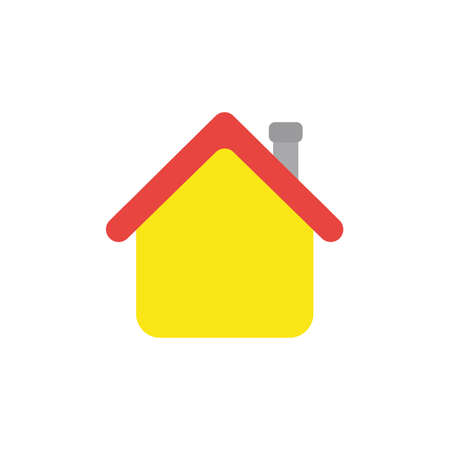 recess: Flat design style vector illustration concept of yellow house symbol icon with red roof and grey flue on white background. Illustration