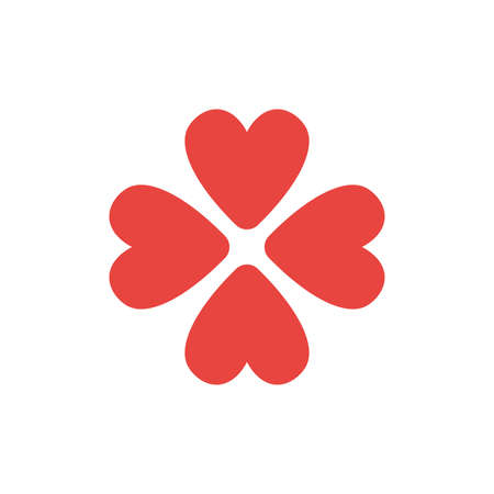 Flat design style vector illustration concept of rotated four red heart symbol icons on white background. Illustration