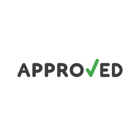 Flat design style vector illustration concept of black approved word with green check mark symbol icon on white background. Illustration