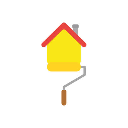 Flat design style vector illustration concept of yellow roller paint brush painting house symbol icon on white background. Illustration