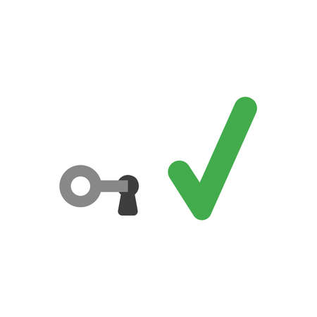 Flat design vector illustration concept of grey key in keyhole with green check mark symbol icon on white background.