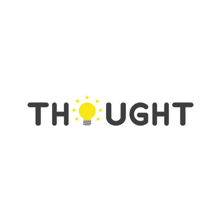 opinion: Flat design vector illustration concept of black thought word with glowing yellow light bulb symbol icon on white background.